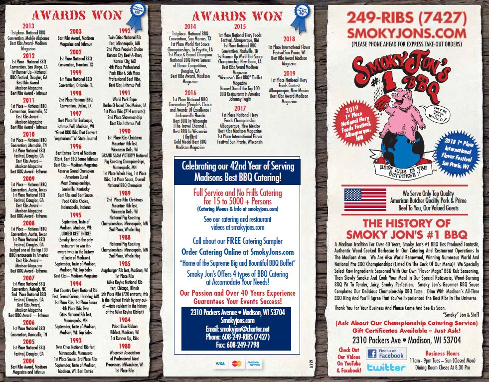 Smoky Jon's #1 BBQ Restaurant Menu